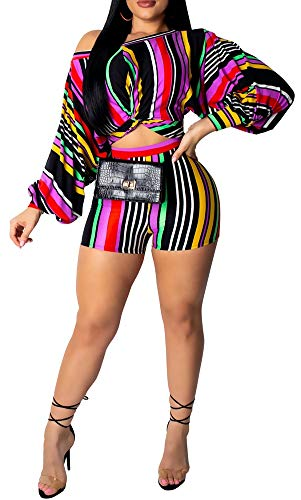 LETSVDO Women 2 Piece Outfits Long Sleeve Off Shoulder Crop Top and High Waist Shorts Set Romper