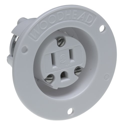 Woodhead 1547MB Safeway Single Receptacle, Industrial Duty, Straight Blade, 2 Poles, 3 Wires, NEMA 5-15 Configuration, Flanged, White, 15A Current, 125V Voltage by Woodhead