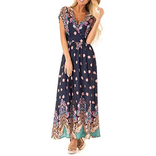 TWGONE Womens Dresses Summer Casual V-Neck Floral Print Beach Bohemian Party Long Midi Dress(Small,Blue)