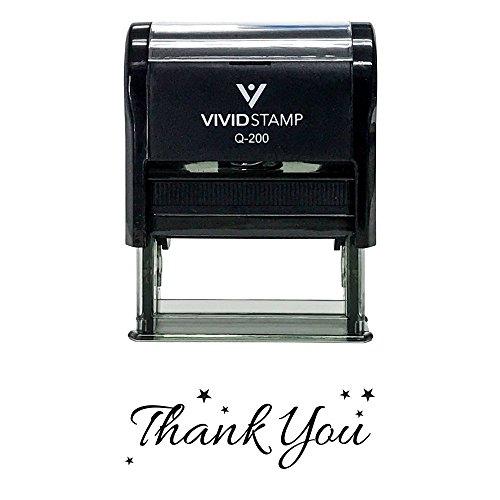 Thank You w/Stars Self Inking Rubber Stamp (Black Ink) - Medium