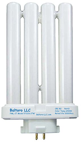 Compact Fluorescent Light Fixtures - Baltoro FML27/50 27 Watt Linear Quad Compact Fluorescent (CFL) Replacement Bulb for Sunlight desk or floor lamps FML27/EX-D FML27EX/N by Baltoro LLC