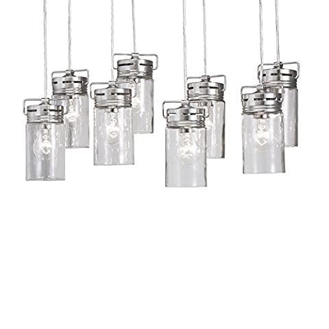 Vallymede 25.47-in Brushed Nickel Barn Multi-Light Clear Glass Jar Pendant (Allen Roth Vallymede)