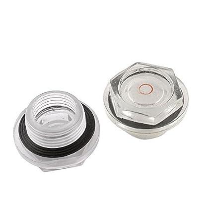 eDealMax 26mm roscado Dia del compresor de aire de plástico aceite líquido Mirilla 2 piezas