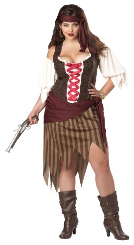 [California Costumes Women's Plus-Size Buccaneer Beauty Plus, Olive/Brown, 3X] (Buccaneer Beauty Costume)