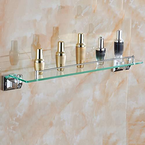 (QFFL Bathroom Glass Shelf, Beauty Makeup Rack, Chrome Single-Layer Hardware Hanging Rack, 2 Colors (Silver/Gray) Bathroom Shelves (Color : Silver))