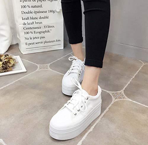 Zapatos Encaje White Universitario Ronda De De De Estilo La De Zapatos Mujer Cabeza Zapatos Casuales Lona DANDANJIE 6aqzAwWSx
