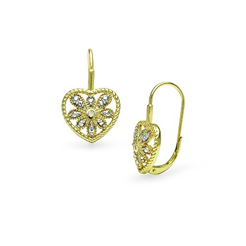 Yellow Gold Flashed Sterling Silver Heart Filigree Flower Diamond Accent Leverback Drop Earrings, IJ-I3