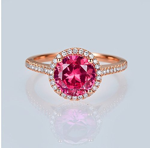 GOWE 14kt Rose Gold 2.31ct Pink Topaz and 0.44ct Natural Diamond Engagement Ring 1