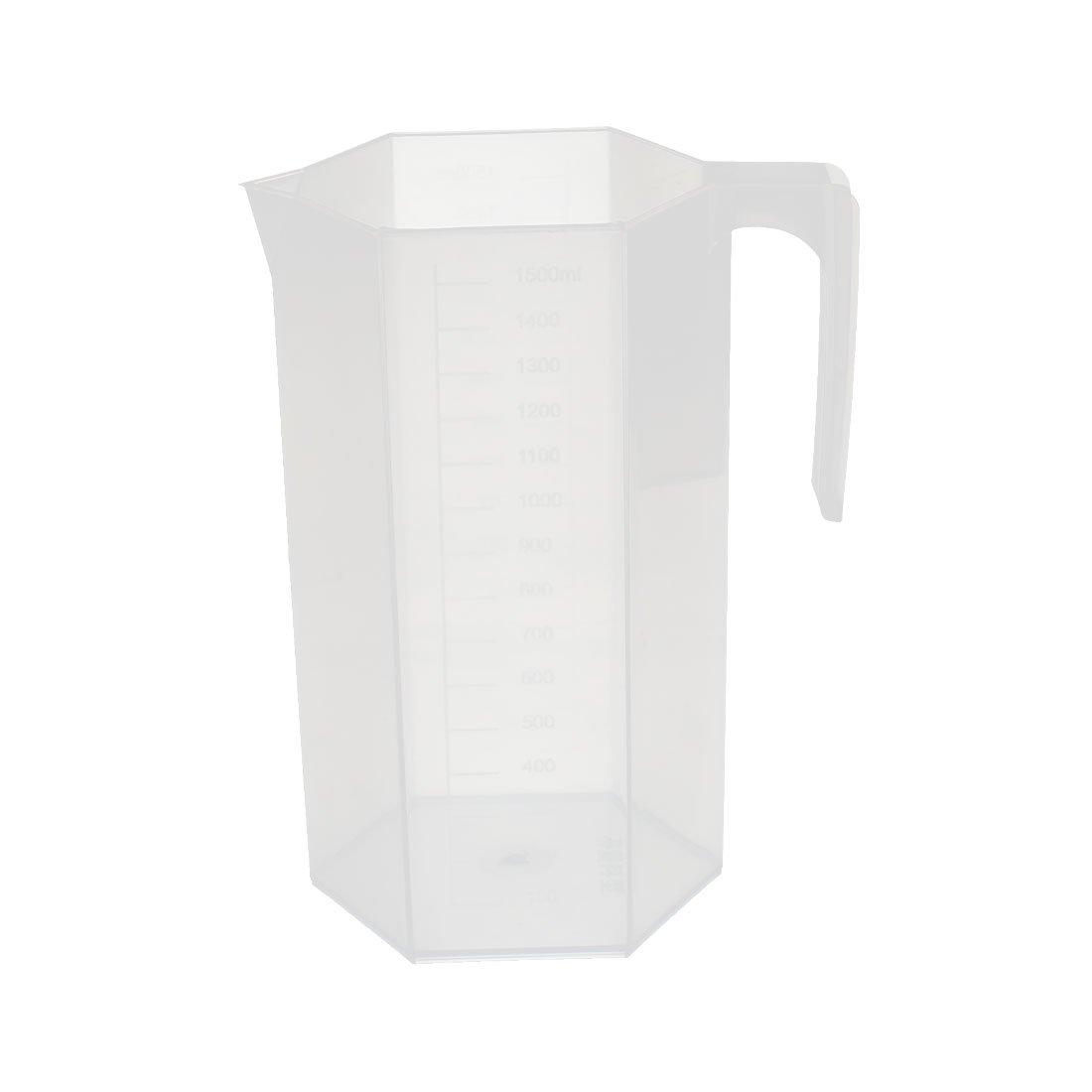 uxcell Kitchen Lab 1500mL Square Plastic Measuring Cup Jug Pour Spout Container