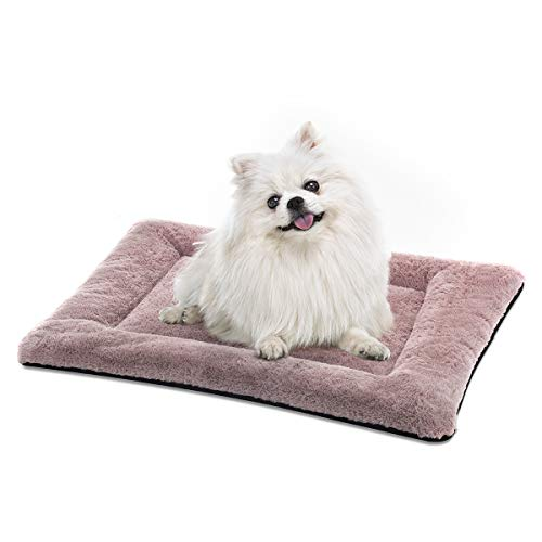 (SIWA MARY Dog Bed Mat Soft Crate Pad Washable Anti-Slip Mattress for Large Medium Small Dogs and Cats Kennel Pad (24inch,Pink))