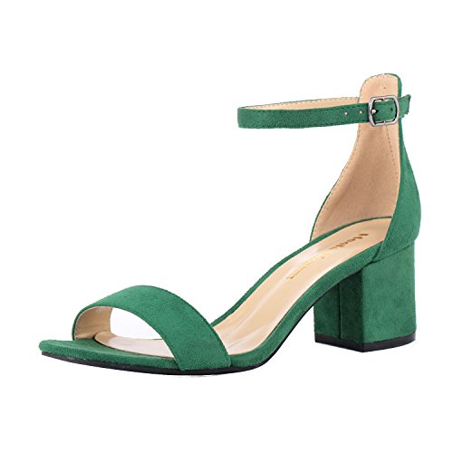 Women's Strappy Chunky Block Low Heeled Sandals 2 Inch Open Toe Ankle Strap High Heel Dress Sandals Daily Work Party Shoes Velvet Green Size 6 -
