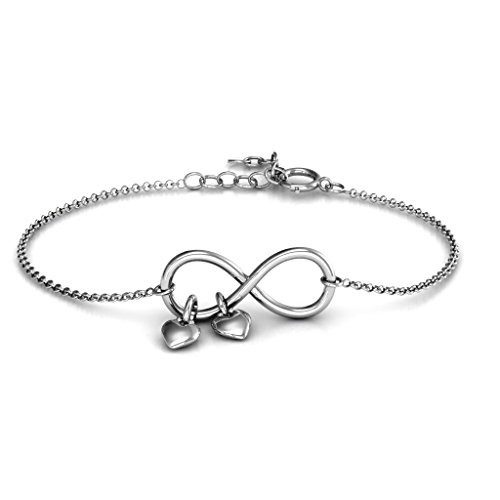 14K White Gold Classic Infinity Bracelet with Engravable Heart Charms by JEWLR