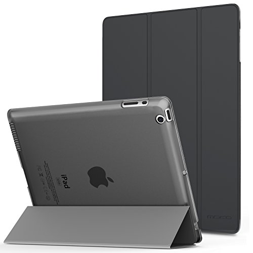MoKo Case for iPad 2 / 3 / 4 - Ultra Lightweight Slim Smart Shell Stand Cover with Translucent Frosted Back Protector for iPad 2 / The NEW iPad 3 (3rd Gen) / iPad 4, Space GRAY (with Auto Wake/ Sleep)