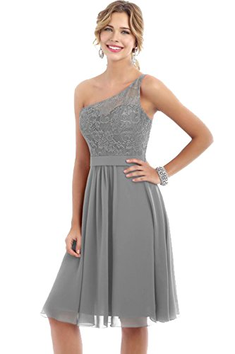 Evening Dresses One Wedding Party Bridal Gray Short Shoulder Gowns Beauty Lace Bridesmaid wz1fwXq