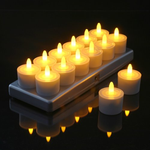 Set of 12 Restaurant Quality Rechargeable Tea Lights; Steady-On (Non-Flickering) Amber LEDs WITHOUT Glass Holders