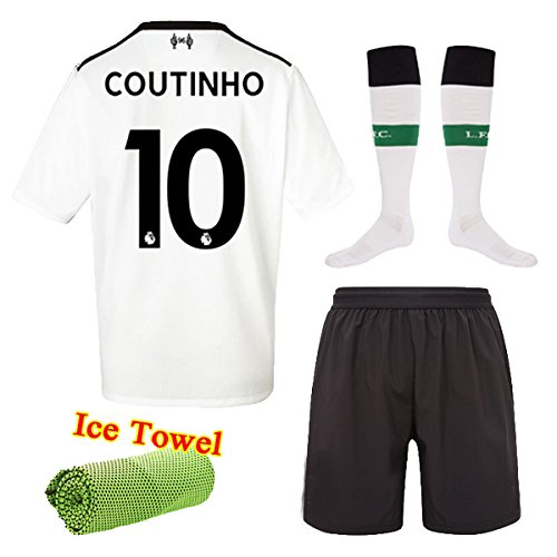FC FirstClass 2017-18 Football Soccer Club Jersey Short Sleeve White Away Kit Kids Boys Youth Sportwear Shirts & Shorts & Socks & Free Face Cloth (COUTINHO 10, 5-6 years)