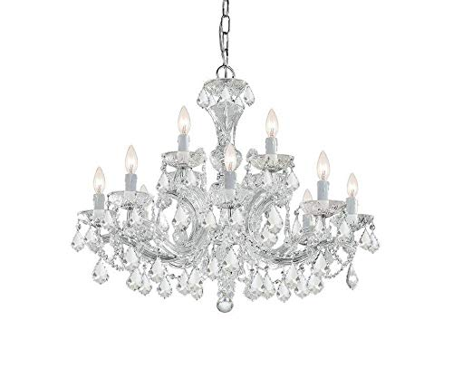 4479-CH-CL-SAQ Maria Theresa 12LT 2-Tier Chandelier, Polished Chrome Finish with Clear Swarovski Spectra Crystal