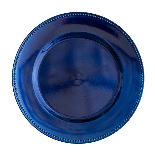 "Richland Charger Plate Beaded Round 13"" Royal Blue Set of 12"