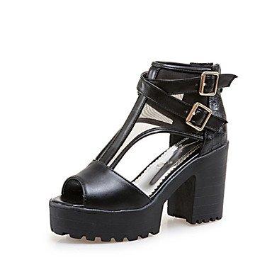 LvYuan Mujer-Tacón Robusto-Otro Innovador Zapatos del club-Sandalias-Boda Vestido Informal-Materiales Personalizados Semicuero-Negro Azul Rosa Black