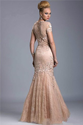 Light Dreamdress Pink Sheer Wear Mother Lace DMDRS Sleeve Gown Mermaid Women's Short Formal SqnOP