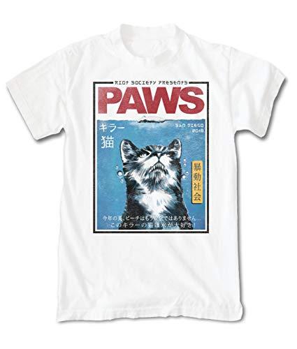 Riot Society Paws Japan Mens T-Shirt - White, XX-Large
