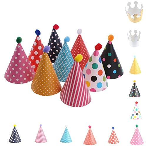 A&S Creavention® Polka dots Party Hats caps, for Kids Birthday celebration event parties. Set of 9 Hats and 2 Crown Mix Style, 11pcs