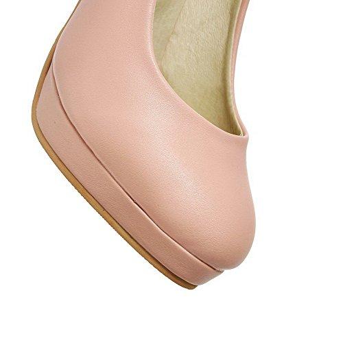 Rein Schuhe auf Rund Damen Ziehen Stiletto Zehe Pumps Pink Materialien Blend AgooLar Y6pgFqOwx