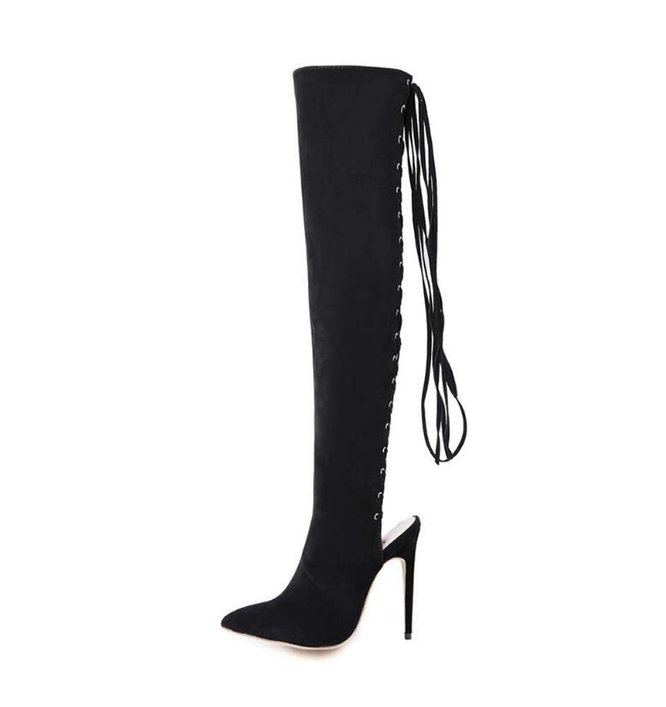 Black Knee High Boots Pointed Toe Slingbacks Cool Boot Women Sexy Hollow Cross Straps Party shoes Knight Boots EU Size 34-40
