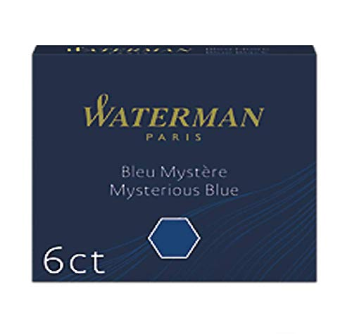 Waterman Fountain Pen Ink Cartridges, Short International, Mysterious Blue, 6 Count