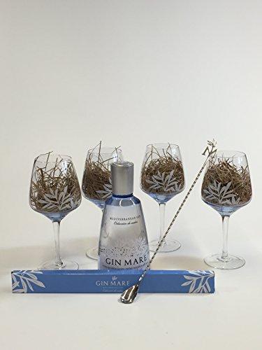 Gin Mare Set - Gin Mare Gin 700ml (42,7% Vol) + 4 Ballongläser + Edelstahl Barlöffel