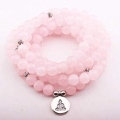 DADATU 108 Cuentas Mala Collar Pulseras para Mujeres Rosa Cuarzo Yoga Pulsera Mala Lotus Buddha Charm Bracelet