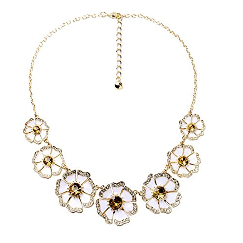 Flowers Statement Collar Necklace - Gold Crystal Rhinestone Bib Necklace Costume Jewelry For (Jewel Flower Necklace)