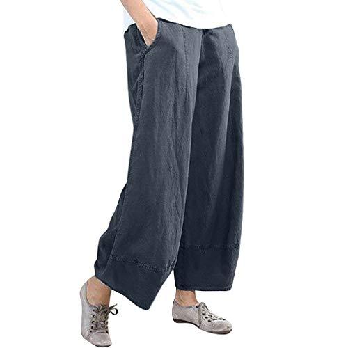 BBesty Big Sale Women's Summer Fashion Pure Color High Waist Wide Leg Pants Cotton Linen Trousers Loose Pants Navy
