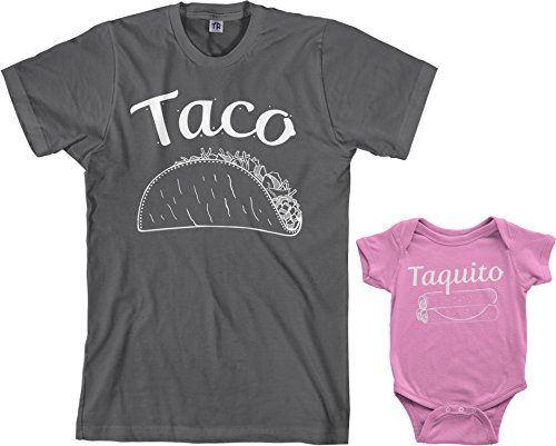 Threadrock Taco & Taquito Infant Bodysuit & Men's T-Shirt Matching Set (Baby: 12M, Pink|Men's: 2XL, Charcoal)