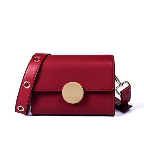 del cuadrado bolso de Rojo Bolso bolso Color de genuino Color hombro sólido retro retro del del cuero las del Crossbody Púrpura mujeres wCSvE4qvx