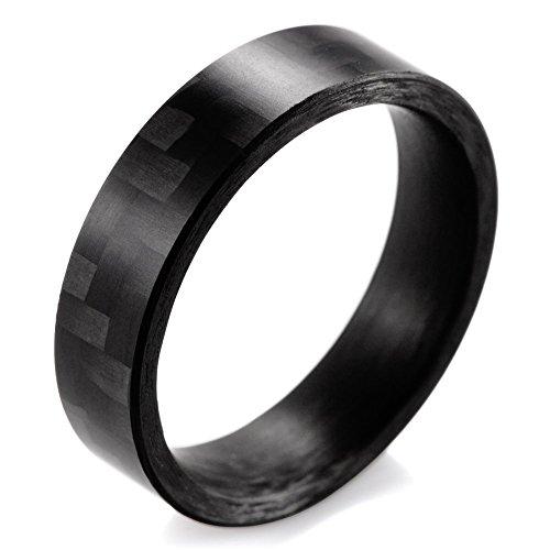 SHARDON Men and Women's 6mm Flat Pure Carbon Fiber Ring Size 7.5 - Carbon Fiber Mens Wedding Bands