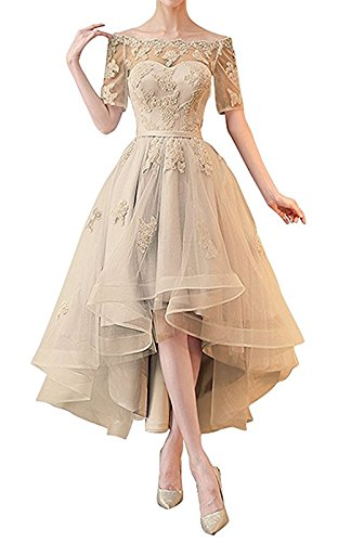 NOVIA Women's Off Shoulder High Low Wedding Party Dresses 1/2 Sleeves Vintage Bridesmaid Gown Champagne Size 10