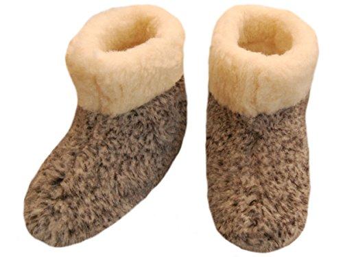 Warme Hausschuhe Hüttenschuhe aus Schafwolle Leo 50a