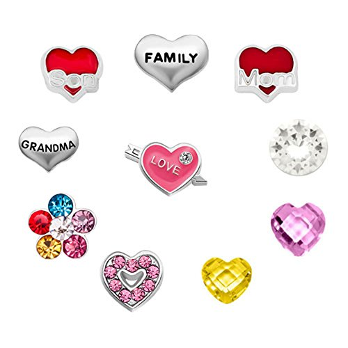 Mel Crouch Heart Love Mom Sister Nana Daughter Family Floating Charms Beads for Living Memory Glass Locket Necklaces (Style-1)