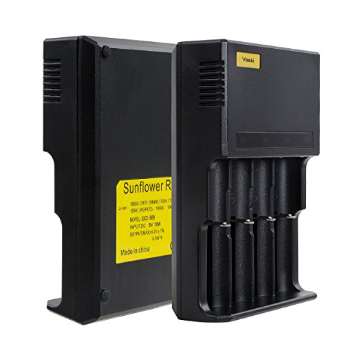 Veeki Universal Battery Charger With Four Independent Slots And Automatically Stop Charging Fit For 26650 22650 18650 17670 18490 17500 18350 16340 10440 Etc.