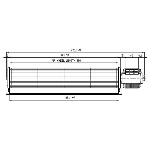 Motor Ventilador tangenziale 420 mm 334 x 40 estufas de pellets - emmevi fergas ecoforest 114205: Amazon.es: Hogar