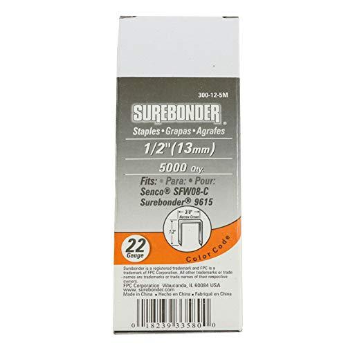 Surebonder 300-12-5M  1/2-Inch 22 Gauge Upholstery Staples, 5000 count by Surebonder