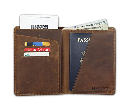 Leather Passport Holder - Habitoux, RFID Blocking Passport Holder Travel Wallet - Genuine Crazy Horse Leather, Brown, Free