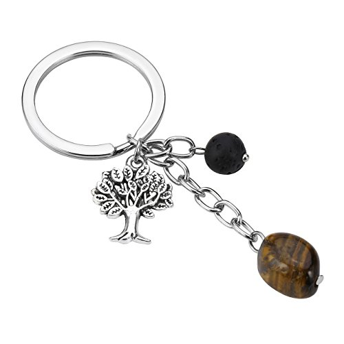 Silver Tone Tigers Eye - Top Plaza Handmade DIY Silver Tone Tree Of Life Charm Pendant Keychain Chakra Healing Crystal Lava Stone Bead Keyring-Tiger Eye