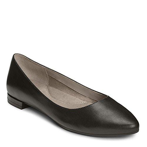 Aerosoles Women's Hey Girl Ballet Flat, Black Leather, 6 M US