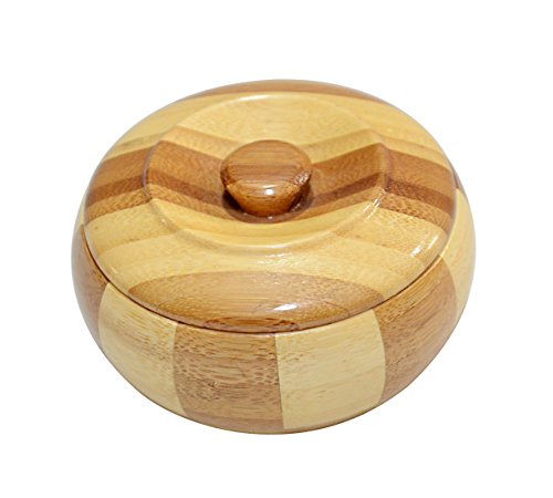 Hoobar Bamboo Round Ashtray Cigarette Ashtray with Cover Smoking Cigar Ashes Tray Holder (D: 3.5'')