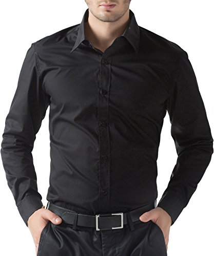 Shirt Down Button Dress Mens (PAUL JONES Men's Black Casual Button Down Shirt Slim Fit Dress Shirts (S))