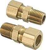 3/8'' Tube x 3/8'' Male NPT Brass Compression Connector, (Package of 5)