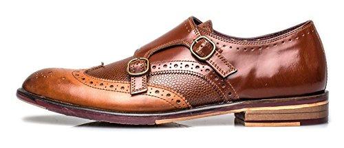 London Brogues Lincoln Monk Herren Leder Halbschuhe Tan Leather