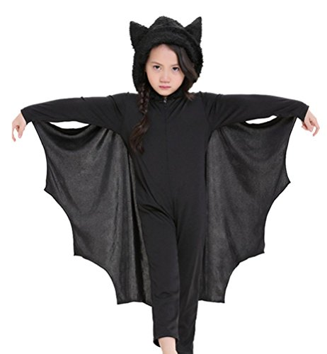Apiidoo Kids Hooded Vampire Bat Halloween Costume Cosplay One Piece Fancy Dress L (Quick Homemade Costumes)